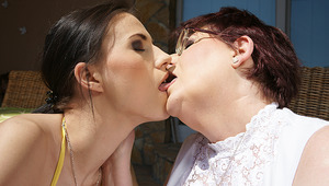 3 old lesbians and one hot foxy babe get it on