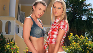 Morgan and Lena - Gorgeous blonde Lena waters the lawn in the garden when her hot friend Morgan comes over and they start to playfully splash water onto each others' hot bodies and firm butts. They make out passionately and remove their wet tops to s