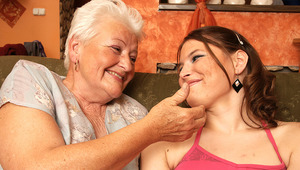 Horny hot babe doing a lesbian mature mama