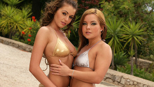 Zara and Salome - Sultry Sara is watering the bushes with a hose while stunning teen Zara is tanning on a deck chair. Salome comes over and they kiss passionately and strip off their bikini tops. They caress 1 another's firm tits and puffy nipples,
