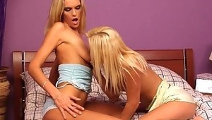 Monica and Jenny - Monica (blue top) and Jenny have sex in bed. They finger and suck each others' pussies. They also do a trib and Monica blows Jenny's behind.