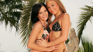 Natali and Adela - Dark haired hottie Adela and Blonde stunner Natali lustily kiss and fondle one anothers' hot, wet bodies in the pool, then they take off their bikini tops to massage and lick one anothers' perfect tits and erect nipples. Natal
