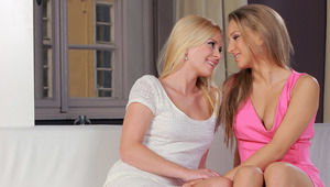 Jess and Nessy - Nessy (pink dress) and Tess (white dress) are relaxing on the couch. Tess  starts sucking Nessy's fingers, and then the skanks start kissing passionately.  Tess's titties come out, and Nessy licks her nipples. Then Nessy's