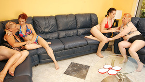 four old and teen lesbians have a sexparty