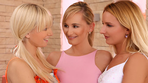 Lenna, Claudia and Promesita - Enticing teens Lenna, blondie hair, Claudia, pink top and Promesita, white top, passionately kiss in the living room, then strip off their clothes as they blow and massage one anothers' firm titties and erect nipples. C