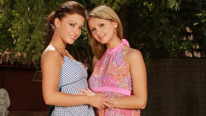 Hailee and Zoe - Alluring teens Hailee, brunette, and Zoe, blonde hair, make out on a bench in the garden, then take off their tops to caress and suck each other's firm tits and pink nipples. They strip off their shorts and thong undies, part their s
