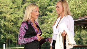 Claudia and Sunshine - Dazzling blondes Claudia in white shirt and her ravishing friend Sunshine make out passionately on a park bench, then they undress each other and lick and fondle one anothers' pretty tits. Sunshine peels off Claudia's