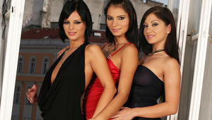 Angelica, Lucile and Lexi - Fiery, raven haired nymphs Angelica, in red, Lexi, shorter hair, and Lucile caress and kiss each other on a sofa, then lustily strip off their pretty dresses and thong panties. They caress and suck each other's firm tittie