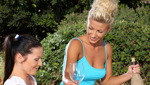 Hailee, Mischelle and Mya - Alluring beauties Hailee, blonde hair, Mischelle, dark hair, and Mya, auburn hair, share a toast and a glass of juice outdoors in the garden, then start to kiss and embrace lustily and eagerly strip off their clothes. They fond