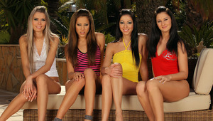 Dominika, Brooke, Anitta and Lulu - beautiful teens Anitta, brown hair and striped top, Brooke, dark hair and yellow shirt, Dominika, blondie, and Lulu, raven hair and red shirt, make out and caress each other passionately in the garden, then eagerly stri