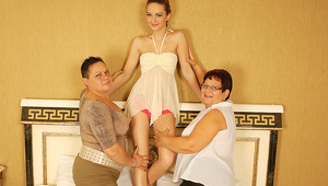 3 nasty old and teenie lesbians go dirty on bed