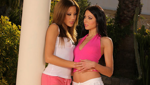 Anitta and Brooke - Luscious nymphs Anitta, black hair, and Brooke, auburn hair, make out in the garden, then eagerly peel off their tops to caress and blow 1 another's firm titties and perky nipples. They take off their skimpy shorts, part their w