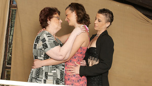 3 older and young lesbians have fun