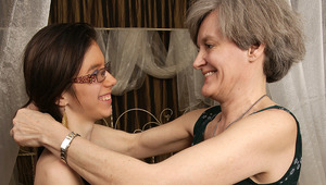 Horny old and teenie lesbians go at it