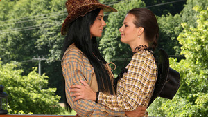 Ashley and Klara - Naughty ranch hands Ashley, raven hair, and Klara, brown hair, kiss passionately on a patio, then strip down to their sexy undies and spread a blanket on the floor. They fondle and suck one another's firm tits and hard nipples, spr